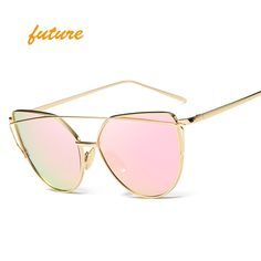 2017Future Fashion Cat Eye Sunglasses Women Brand Designer Metal Reflective Mirror Sun Glasses For Women Twin-Beams oculos Gafas