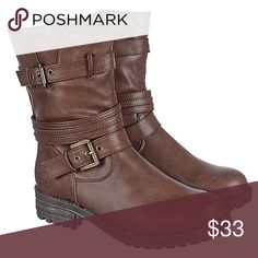 Brand new boots These PU Boots from our very own Shiekh collection is perfect for the sporty chic that still likes to be girly. The buckles on the side panels gives the boot a western type of style. Pair these with a mid-high fit and flare dress for country girl, yet fashionable look.  Heel height: 1.5 in. (approx.)Shaft: 8 in. (approx.) Opening: 13 in. (approx.)Side zipper closure Top and bottom side buckles on upperStitching detail a long upperRound toeDurable rubber outsoleTrue to size…