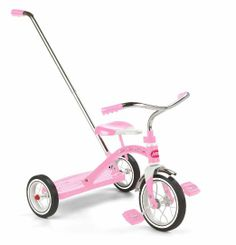 Amazon.com: Radio Flyer Girls Classic Pink Tricycle with Push Handle: Toys & Games