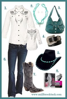 Western Wear: Ladies - Wear your Style!  Love the turquoise accessories!