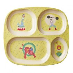 Rice Boys Circus Compartment Plate `One size 4 compartments * Fabrics : Melamine * Composition : No BPA, phtalates, lead or organic tin compounds * Color : Yellow * Details : Circus Print * Length : 25 cm, Width : 22 cm. * Dishwasher safe, Not f http://www.MightGet.com/january-2017-13/rice-boys-circus-compartment-plate-one-size.asp