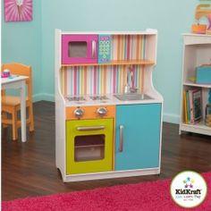 Découvrez la cuisine en bois multicolors KidsKraft ! http://www.bebegavroche.com/cuisine-en-bois-jouet-kidkraft-multicolors.html