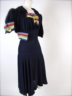 "#1940's #WWII Era, ""From Sea To Shining Sea"" Swing #Dress & Sail Away Jacket.  Amazing #vintage threads!"