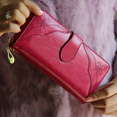 2016 new fashion iVintage women ladies purse medium-long genuine leather handbags hasp&zipper dress wallet