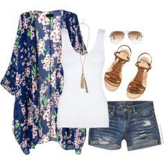 Kimono, denim shorts & fringe sandals