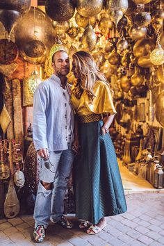 Inspired by the Moroccan spice, tumeric, this couple's vacation style reflected the ancient beauty of Marrakesh.