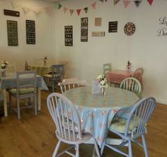 Vintage tearoom at Teacups & Trinkets.  All chairs and tables were varnished pine and painted with autentico (contains chalk) paint.  #autenticopaint #autentico #chalkpaint #upcycle #earthpaint #vintage #tearoom #tea