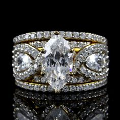 6.68ct Lab Diamond 101 Facet Marquise 3 piece Engagement & Wedding Ring Set 5-10 #VictoriaWieck