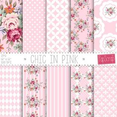"Shabby chic digital paper : ""Chic in Pink"" floral digital paper with shabby roses on pink background, decoupage paper, rose digital paper"