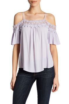 Image of Jolt Crochet Trim Cold Shoulder Shirt