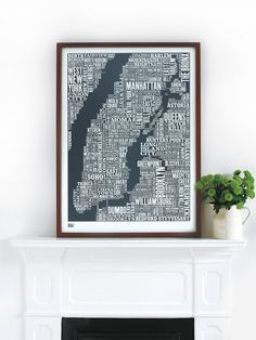 New York City Type Map in Sheer Slate - Decorative Screen Print. $69.00, via Etsy.