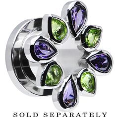 00 Gauge Stainless Steel Green and Purple Gem Flower Wreath Tunnel | Body Candy Body Jewelry