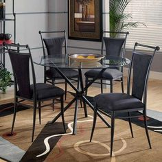 Cierra 5 Piece Round Dining Set in Black by Hillsdale Furniture. $553.18. 4592-806/4637-810/40335 Features: -Black fabric.-8mm non-tempered glass top with 1'' bevel. Includes: -Includes two chairs. Care and Instructions: -Recommended care: Dust frequently using a clean, specially treated dusting cloth that will attract and hold dust particles. Do not use liquid or abrasive cleaners as they may damage the finish.. Assembly Instructions: -Some assembly may be requir...