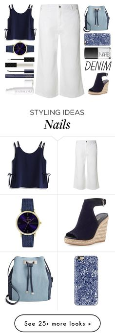 """Denim: Denim pants, bag, and shoes"" by juliehalloran on Polyvore featuring Dorothy Perkins, Chicwish, INC International Concepts, Casetify, NARS Cosmetics, Prada, Gucci, Estée Lauder and Eve Lom"