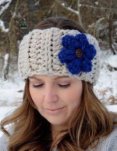 Crochet Earwarmer Headband Flower Headband by SimplyMadeByErin