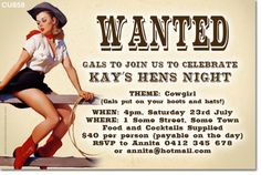 www.invitations2impress.com CU858 - Cowgirl Themed Hens Night Invitation