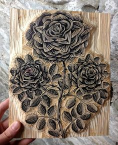 Wood carved roses- tattoo inspo