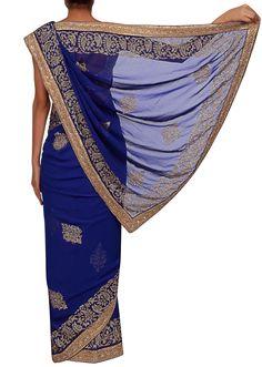 Royal blue saree adorn in sequin  only on Kalki