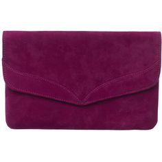 Caitlin Suede Clutch Bag ($89) ❤ liked on Polyvore featuring bags, handbags, clutches, suede clutches, suede handbags, purple purse, purple handbags and snap closure purse