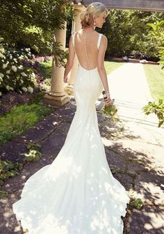 Embrace modern minimalism with this chic bridal gown from the Essense of Australia wedding dress collection. It features tailored, clean lines of C. Satin Mermaid Wedding Dress, Open Back Wedding Dress, Backless Wedding, Slinky Wedding Dress, Crepe Wedding Dress, Crepe Dress, Lace Wedding, Essense Of Australia Wedding Dresses, 2015 Wedding Dresses
