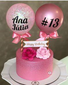 Girly Birthday Cakes, Elegant Birthday Cakes, Beautiful Birthday Cakes, Pretty Cakes, Cute Cakes, Mini Cakes, Cupcake Cakes, Fiesta Cake, Balloon Cake