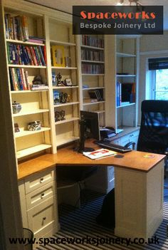 stunning bespoke made to measure desk with drawers and floor to ceiling shelving to maximise limited home office space traditional cream and wood finish bespoke office desks