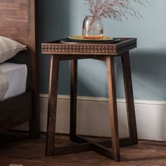 Boho Chic Bedside Table  The Boho Chic Bedside Table is made using Mango solids with mixed timber veneers of Teak-Mahogany-Mindy Ash and Mango which give contrast and make the inlaid pattern stand out. It has a stunning mat black charcoal or brown finish – the different grains in the mixed timbers stand out in the light and catch your eye with this beautiful detail.