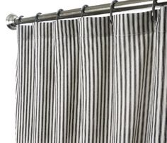 Extra Long Shower Curtain Fabric Curtains Black White Ticking Stripe Bathroom Decorating Ideas 72 X 84