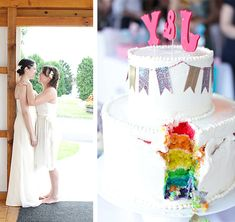 This adorable same-sex wedding cake, looks traditional from the outside but has a sassy flare on the inside with rainbow layers.