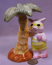 Vintage Pig At The Beach Under a Palm Tree S&P Shakers