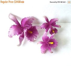 Vintage Celluloid Orchid Brooch Clip on by MargsMostlyVintage