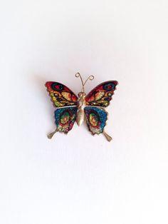 Vintage 1970s  Glitter Rainbow Butterfly by ArtDecoDame on Etsy