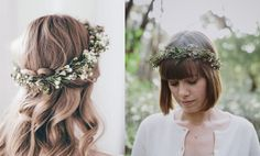 5 Ways to Style Your Wedding Hair. Minimal flower crown hair inspiration.