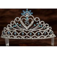 Angels Garment Girl Turquoise Crystal Stone Heart 15 Quinceanera Tiara