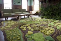 Furniture Awesome Rugs That Highlight The Floor With Motive In The Form Of Plants And Herbs And Clay That Is Integrated Into A Two Dimensional Green And Dark Brown.