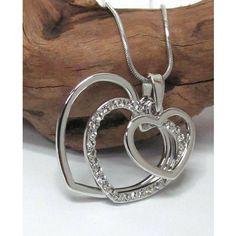 Triple Silver Cut Out Heart Pendant Necklace
