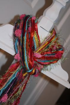 pretty yarn knotted scarf from etsy