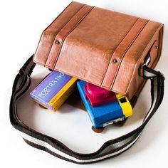 Brown Leather Hard Case Camera Bag for Holga camera