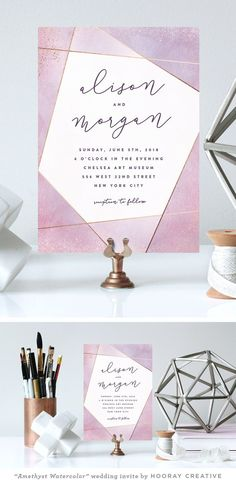 """Amethyst Watercolor"" modern geometric wedding invitation  