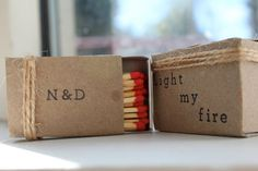 Super cute message!  Personalized matchboxes by theweddingworkshop on Etsy