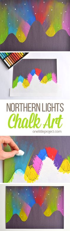 Beautiful Northern Lights Chalk Art For Kids Kids Crafts simple diy crafts for kids Kids Crafts, Fun Diy Crafts, Arts And Crafts, Simple Crafts, Chalk Crafts, Decor Crafts, Glow Crafts, Easy Art Projects, Craft Projects For Kids
