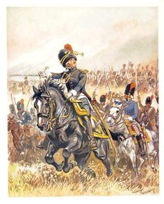 Waterloo:  French Grenadiers à Cheval, by Maurice Toussaint.  At Waterloo, the Horse Grenadiers wore a simpler jacket with a single row of buttons.