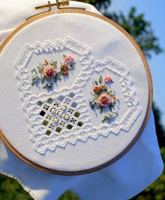 Hardanger Embroidery my hardanger heart Types Of Embroidery, Learn Embroidery, Ribbon Embroidery, Hardanger Embroidery, Embroidery Stitches, Embroidery Patterns, Cross Stitches, Loom Patterns, Drawn Thread