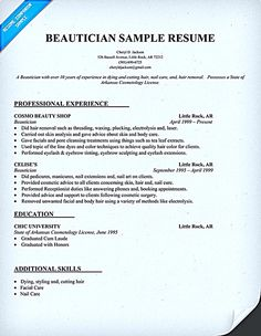 Cosmetologist Resume Samples Just Out Of School  HttpWww