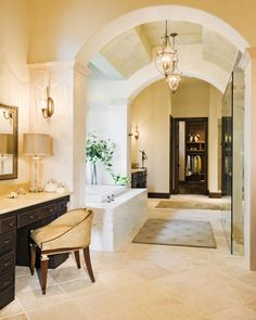 Great combination of bathroom and closet