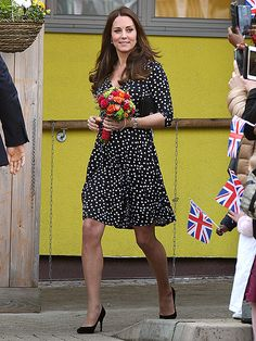Star Tracks: Wednesday, March 18, 2015 | PRETTY IN POLKA DOTS | With her baby due in just about one month, Princess Kate doesn't slow (or dress!) down. On a visit to Brookhill Children's Center in London on Wednesday, the Duchess looks stylish in a chic $63 dress.