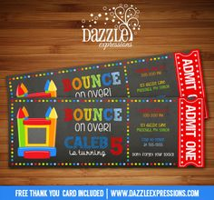 Printable Chalkboard Bounce House Ticket Birthday Invitation | Digital File | Boys Birthday Party Idea | Trampoline | Inflatable Park | Jump | Pump it Up | FREE thank you card | Party Package Available |  Banner | Cupcake Toppers | Favor Tag | Food and Drink Labels | Signs |  Candy Bar Wrapper | www.dazzleexpressions.com