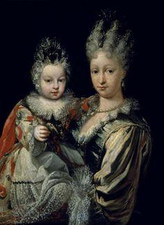 Isabel de Farnesio, segunda esposa de Felipe V, Rey de España, y su primer hijo, el futuro Carlos III, rey de España, de Jacinto Meléndez.