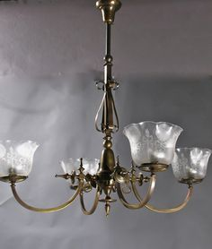 """This Circa 1870 4-light East lake Gas Chandelier has characteristic east lake detailing with Deep acid cutback Gas Shades. 36"""" drop x 36"""" diameter. Drop can be adjusted. $4135.00"""