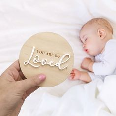 Nest's NEW You Are So Loved Announcement Plaque can be used as a cute birth announcement or photo prop. A timeless keepsake to treasure even when bubs is all grown up. Baby Clothes Dividers, Laser Cut Wood, Laser Cutting, Laser Laser, Birth Announcement Photos, Pregnancy Announcements, Laser Cutter Projects, Arte Country, Babies First Christmas